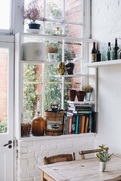 shelves in front of window