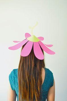 flower parti, art crafts, party hats, paper flowers, garden parties, parti hat, flower hat, paper hats, paper crafts