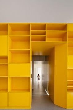Yellow wall storage