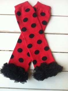 Baby Girl's Ladybug Leg Warmers with Black by BetterThanBows, $11.95