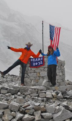 Two supporters from Montana show their Obama 2012 pride at a base camp on Mt. Everest. The Obama Diary - via http://bit.ly/epinner