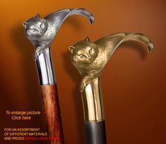 "Handmade Walking Stick "" CAT ""by Boris Palatnik"