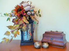 FALL or THANKSGIVING LANTERN with Candle Fall Flowers by decoglitz