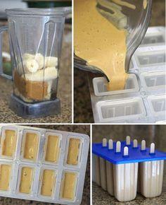 popsicles butter banana, ice pop, banana popsicl, homemade peanut butter
