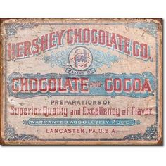 Hershey Chocolate Cocoa Vintage Tin Sign