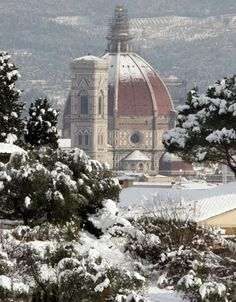 Florence in the snow, province of Florence , Tuscany region , Italy