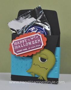 Spooky Ghoul Punch Art Halloween Treat Pocket created by Hand Stamped Style, THANKS for checking out my PIN for more info visit my BLOG and ...