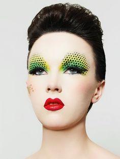 #makeup #green #yellow #black #dots #eyes #lips #red