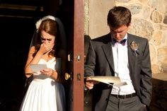 I like this idea, having a photo together without seeing each other, reading letters from each other  Unique Wedding Photos - Creative Wedding Pictures | Wedding Planning, Ideas & Etiquette | Bridal Guide Magazine