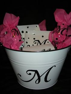 gift baskets, wedding ideas, gift ideas, monogram, bridesmaid gifts, bridal shower gifts, party gifts, wedding gifts, bridal showers
