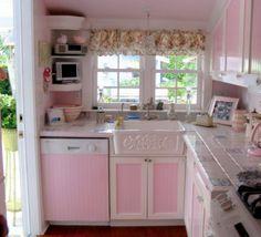Pink trailer kitchen