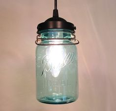 Vintage BLUE Canning Jar PENDANT Light by LampGoods on Etsy, $80.00