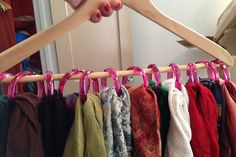 DIY: SCARF ORGANISATION. Use shower curtain rings to organise all your lovely scarves!