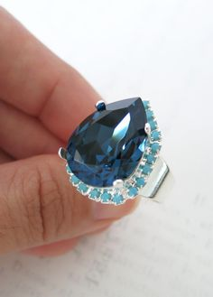 25% OFF SALES -3 only, Clear Swarovski Teardrop with Turquoise crystal adjustable ring, 14k plated gold adjustable, chic statement bold ring, www.glitzandlove.com