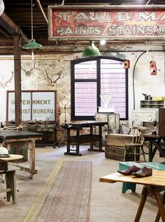 New vintage / industrial store Repop, based in the Young Husband Woolstore warehouse bulding in Kensington, Melbourne. Photo by Eve Wilson for thedesignfiles.net