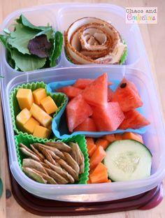 Healthy school lunch box idea via http://chaosandconfections.blogspot.com