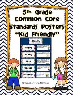 5th Grade Common Core Kid Friendly Posters- Language Arts