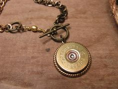 Shotgun Casing Jewelry / Bullet Casing Jewelry - Authentic 12 Gauge Shotgun Shell Medallion Necklace via Etsy