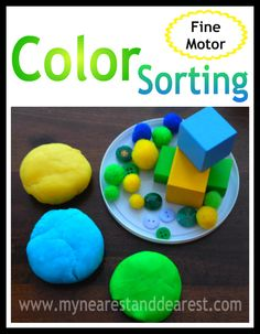 fine motor color sorting with play dough