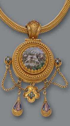 An antique micromosaic pendant necklace, circa 1870 the pendant centering a micromosaic scene of a spaniel and mallard, suspending micromosaic festooned pendants, completed by a fancy-link necklace; mounted in eighteen karat gold; length: 16in. (flexible) (some micromosaic pieces deficient)