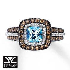 Aquamarine Ring 3/4 ct tw Diamonds 14K Vanilla Gold™