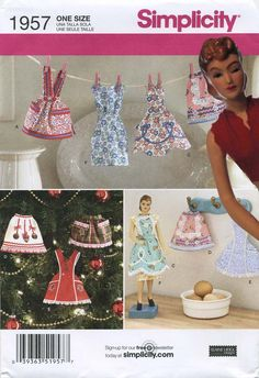 "Retro Vintage Apron Sewing Pattern | Miniature Decorative Aprons | Simplicity 1957 | Year 2011 | Pattern includes dress to fit 12½"" vintage Simplicity ""Fashiondol,"" aka mannequin or mannekin doll. 