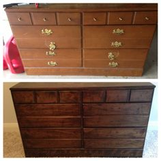 DIY Sanding, staining, and refinishing furniture. All it needs is hardware. Miniwax. Polycrilic. refinishing dresser DIY Decor, Refinished Dresser Stain, Refinished Dresser Diy, Diy Sand, Crafti, Refinish Dresser Diy, Dressers, Refinish Furnitur, Diy Furniture Sand And Stain