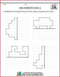 Line Symmetry Worksheet, 3rd grade printable geometry worksheets