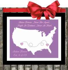 Gift for Sister Birthday : Long Distance - Relationship. Quote Personalized Birthday Gifts For Big Sister Little Sister Two 3 Three Sisters. via Etsy.