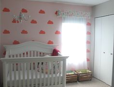 Cloud Mural Accent Wall in Dream Theme Baby Nursery - #projectnursery