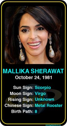 Celeb #Scorpio birthdays: Mallika Sherawat's astrology info! Sign up here to see more: https://www.astroconnects.com/galleries/celeb-birthday-gallery/scorpio #astrology #horoscope #zodiac #birthchart #natalchart #mallikasherawat