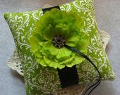 Wedding Ring Bearer Pillow - Lime Green Peony on Lime Green & White Damask
