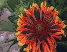 """Gaillardia Fanfare flower - an """"art concentrated"""" art quilt by Barbara Barrick McKie"""