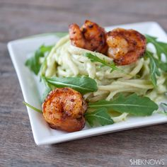 Avocado Alfredo pasta with spicy shrimp --~~~Get ready to twirl those forks! This creamy avocado Alfredo pasta is the perfect complement to chili-spiced shrimp.