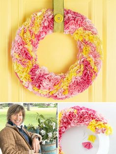 Make this adorable #spring wreath out of the most unlikely material - cupcake liners! #Crafts