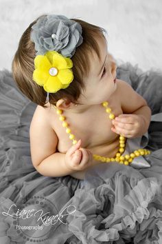 Gray Silver Yellow Flower Tulle Hair Bow Headband Daisy Fabric Puff Boutique Infant Toddlers Girls Photography Prop