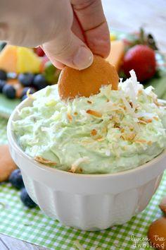 Pistachio Pineapple Dip - Ingredients: cream cheese, crushed pineapple with juice, Greek vanilla yogurt, pistachio pudding, toasted coconut.