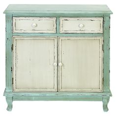 Large Heather Cabinet in White and Mint (Fun re-do idea for antique secretary in living room)