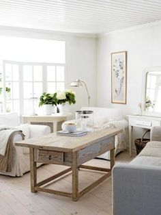 coffee tables, living rooms, rustic table, shabbi chic, white walls, wood tables, old wood, sitting rooms, shabby chic rooms