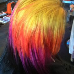 Yellow red purple ombre dyed hair idea