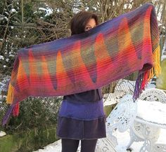 Desert Scarf  Clasped weft weave - handwoven on a rigid heddle loom.  Woven by Frances Green of Waschbear.
