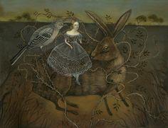 swan-bones:    The Mockingbird and the Hare  Oil on panel, 2010