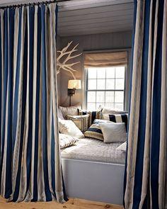 Nautical bedroom antler, cozy nook, reading nooks, place, window seats, stripe, bedroom, curtain, cozy beds
