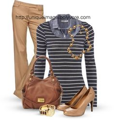 """""""Navy Striped Top"""" by uniqueimage on Polyvore"""