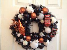 Philadelphia Flyers hockey Christmas wreath, handcrafted