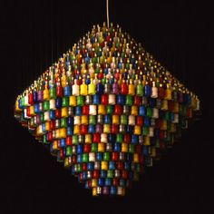 Chandelier created from party poppers created by Stuart Haygarth.