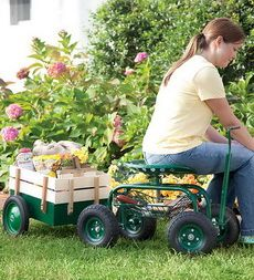 Rolling Scoot-N-Do Garden Seat and Pull Cart