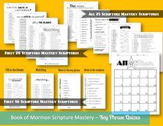Book of Mormon Scripture Mastery Quizes! books, keys, scriptur masteri, scriptur studi, book of mormon, bom seminari, seminari idea, mormon scriptur, mormons