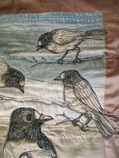 hand embroidery, artworks, tara badcock, art journals, machine stitch, machin bird, freehand machine embroidery, birds, badcock machin