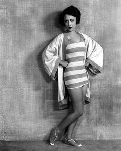 dorothy sebastian striped bathingsuit01